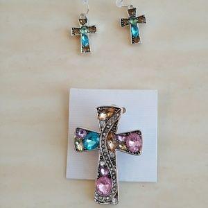Jewelry - Silver Crystal Cross Pin & Earring Set